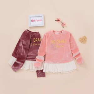 Letter Pattern Extra Thick Hoodie for Toddler Girl