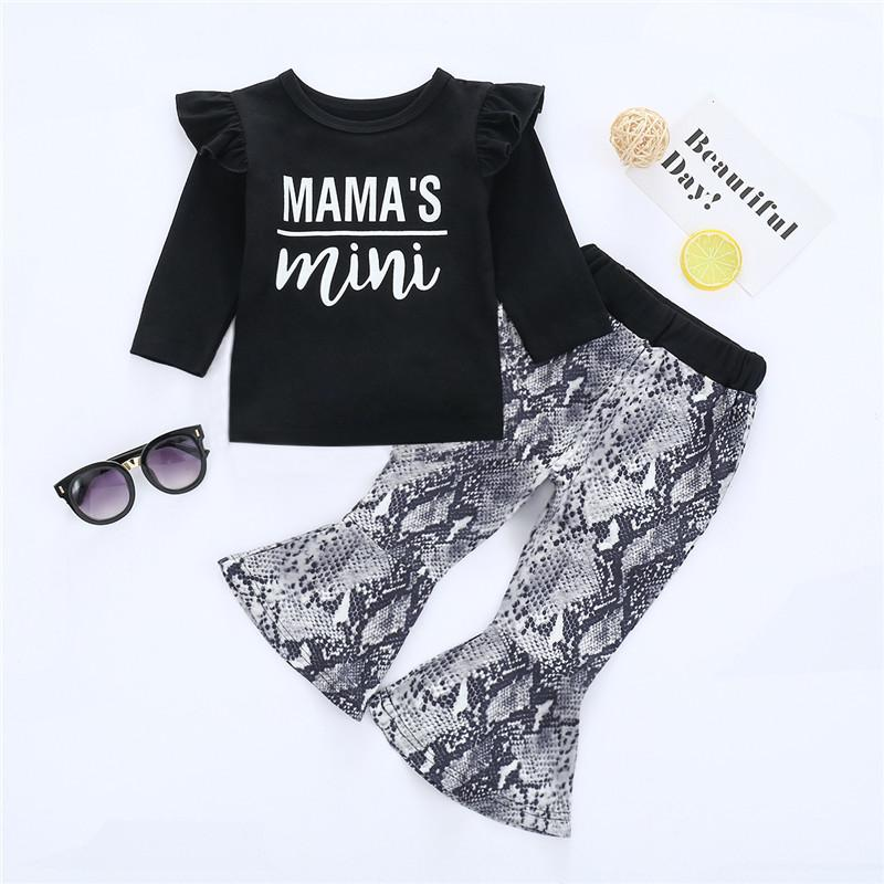 2-piece Letter Pattern Tops & Pants for Baby Girl