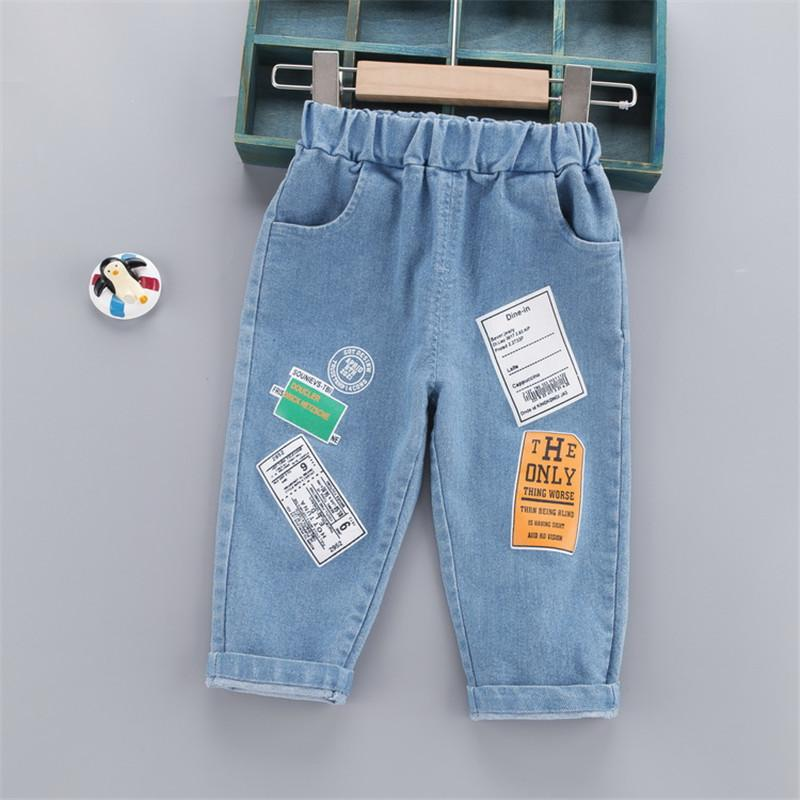 Letter Pattern Jeans for Toddler Boy