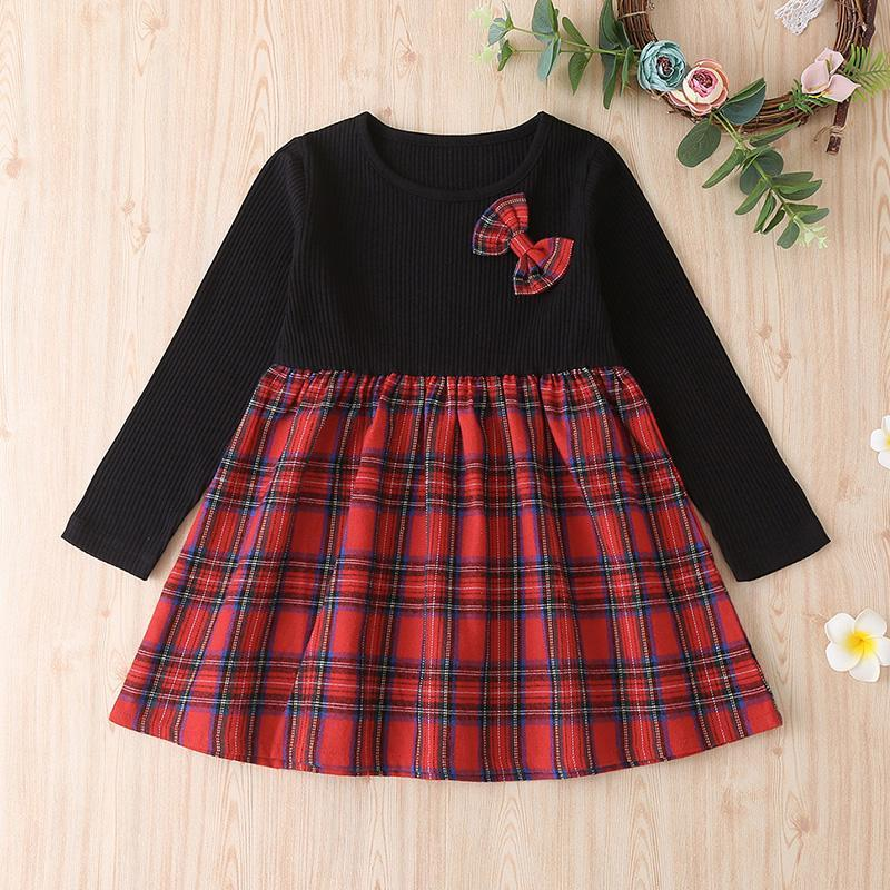 Bow Decor Patchwork Plaid Dress for Toddler Girl