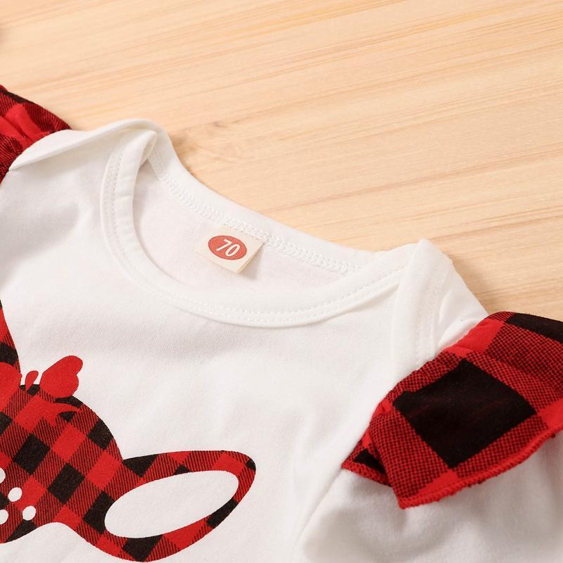 3-piece Deer Pattern Jumpsuit & Pants & Headwear for Baby Girl