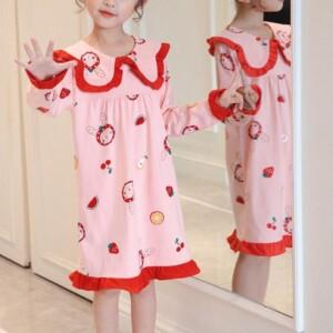 Strawberry Pattern Pajamas Dress for Toddler Girl