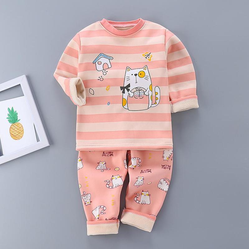 2-piece Cat Pattern Pajamas Sets for Toddler Girl