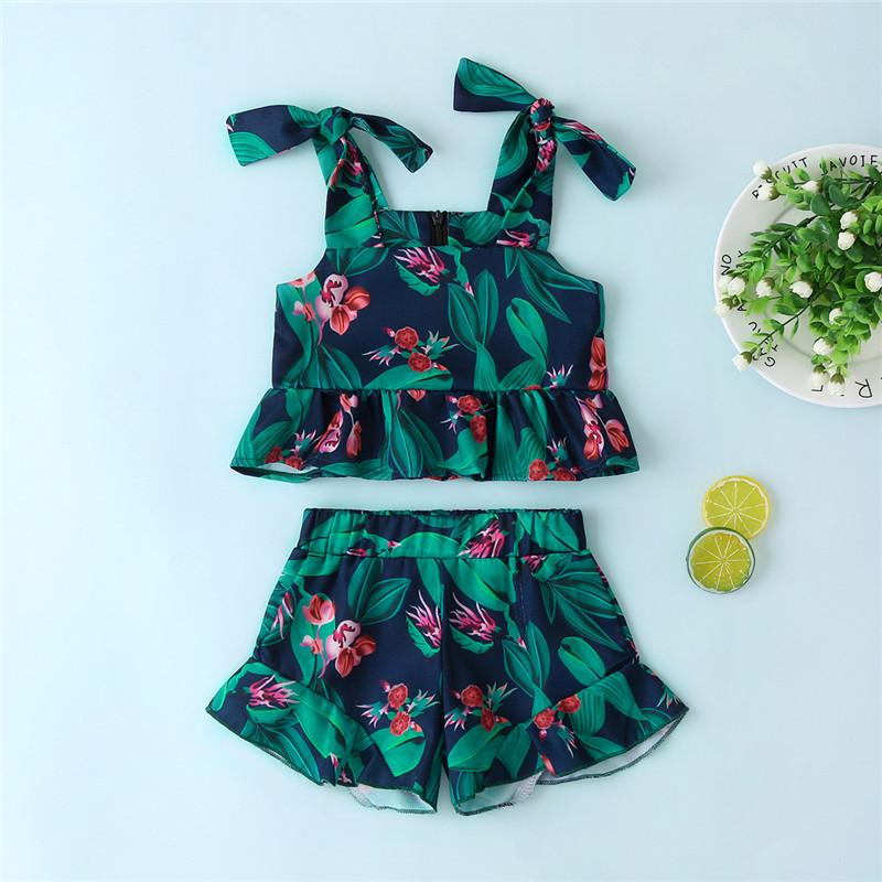 2-piece Floral Printed Tops & Shorts for Toddler Girl