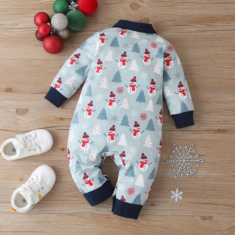 Snowman Pattern Jumpsuit for Baby Boy