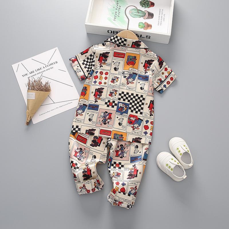Satin Fabrics Silk-like Geometric Pattern Cartoon Printed Pajamas Set