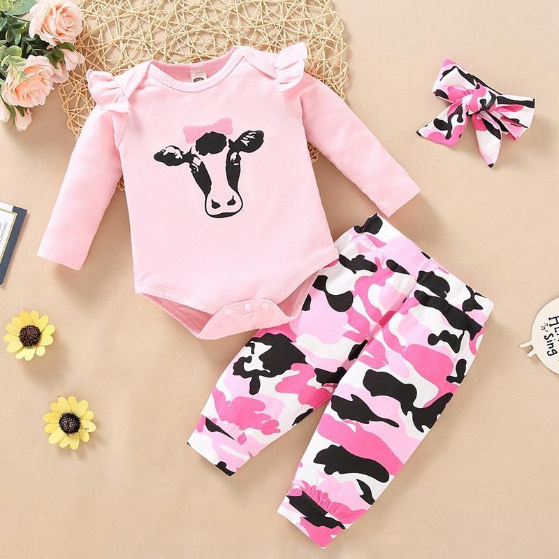 3-piece Cartoon Design Bodysuit & Pants & Headband for Baby Girl