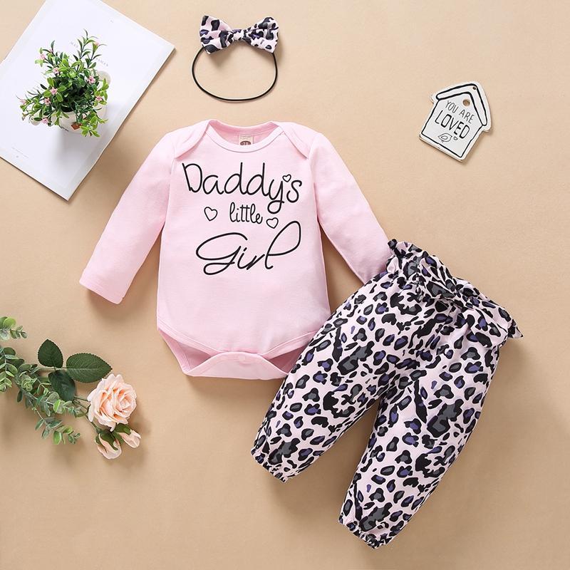 3-piece Headband & Romper & Leopard Pants for Baby Girl