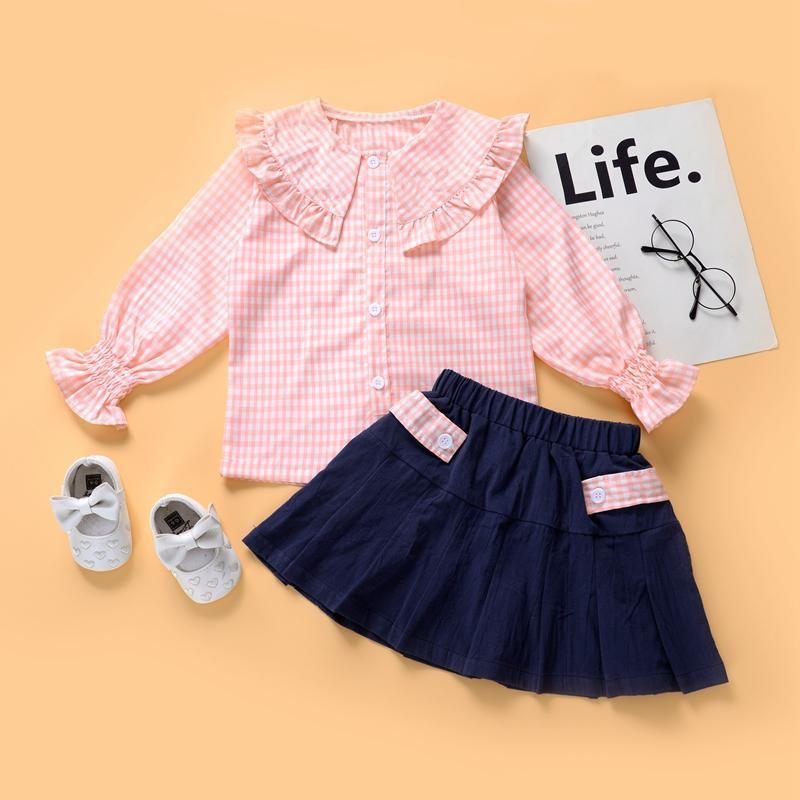 2-piece Solid Blouse & Skirt for Toddler Girl