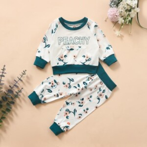 2-piece Floral Pattern Suit for Baby Girl