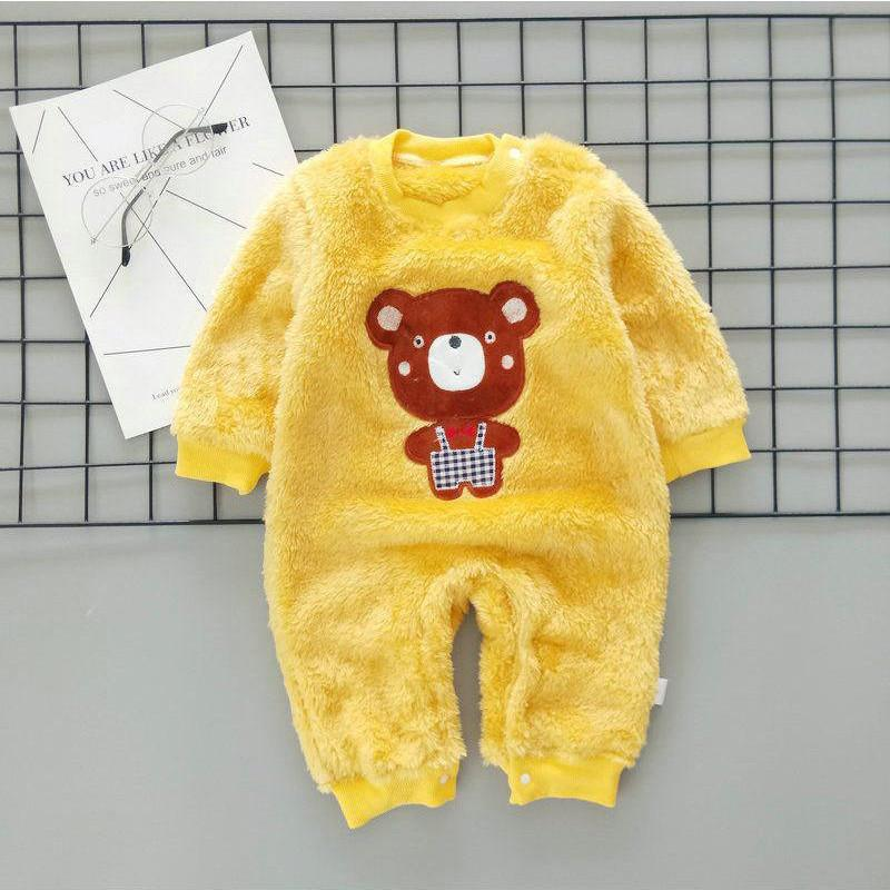 Bear Pattern Hooded Jumpsuit for Baby