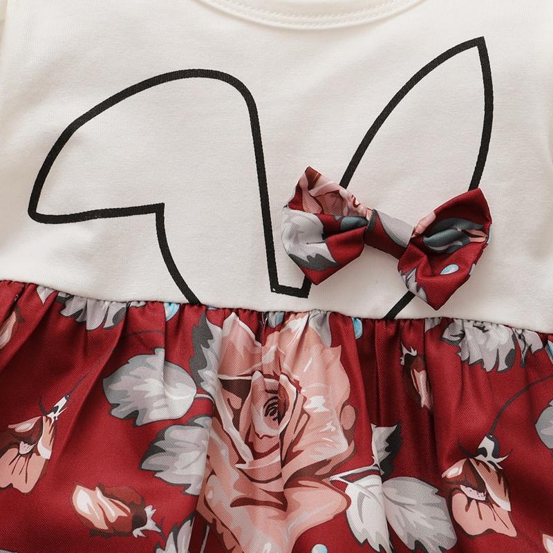 Ruffle Rabbit Pattern Dress for Baby Girl