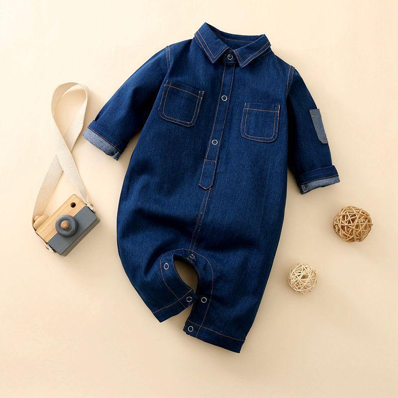 Solid Denim Jumpsuit for Baby Boy