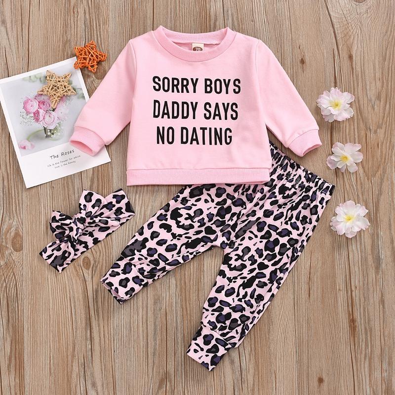 3-piece Letter Pattern Sweatshirts & Leopard Pants & Headband for Baby Girl