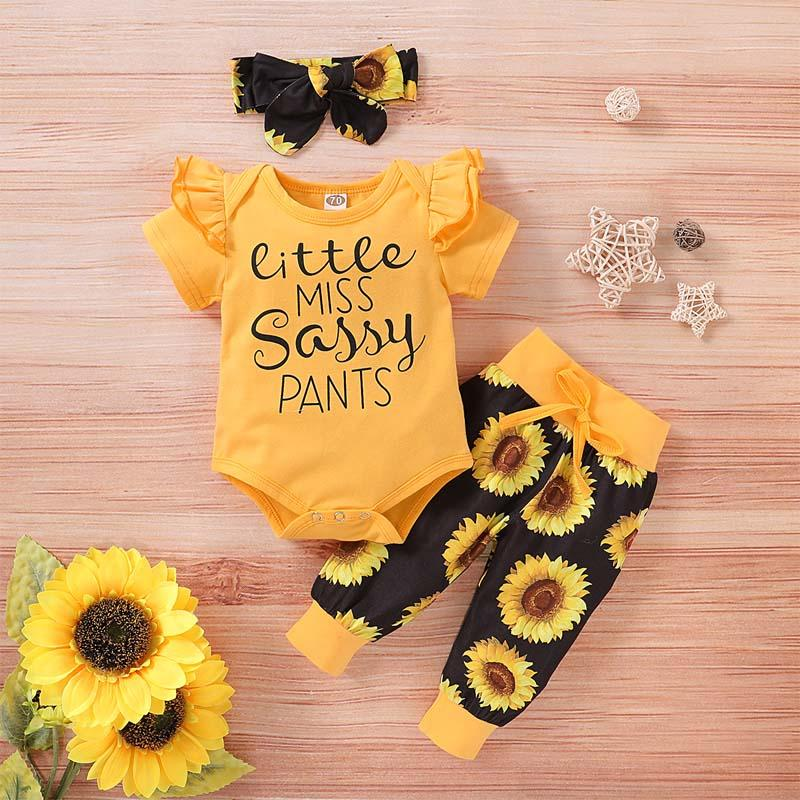 3-piece Ruffle Letter Pattern Bodysuit & Floral Printed Pants & Handband for Baby Girl