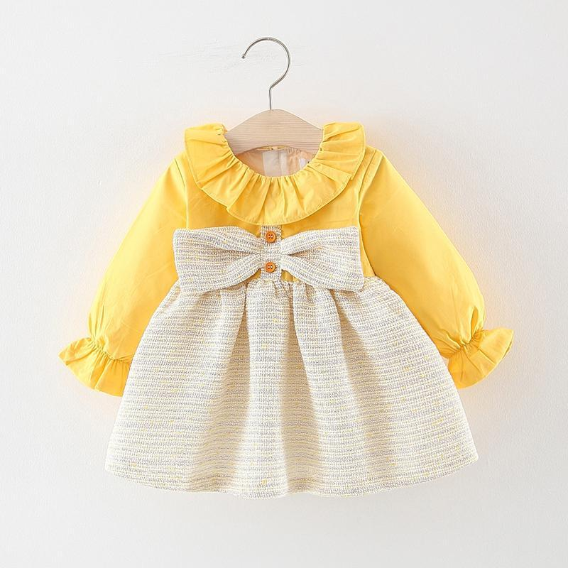Bow Decor Color-block Dress for Toddler Girl