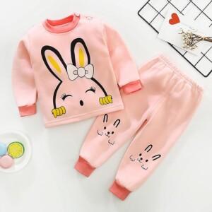 Cute Cartoon Rabbit Thick Fleece-lined Pajamas Sleepwear Set