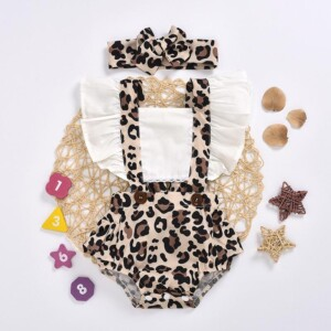 2-piece Leopard Pattern Bodysuit & Headband for Baby Girl