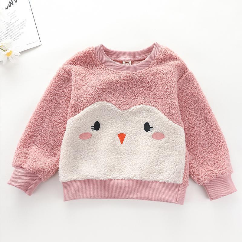 Penguin Pattern Plush Hoodie for Toddler Girl