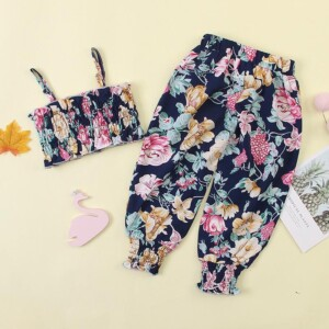 2-piece Flower Overprint Suit For Girls
