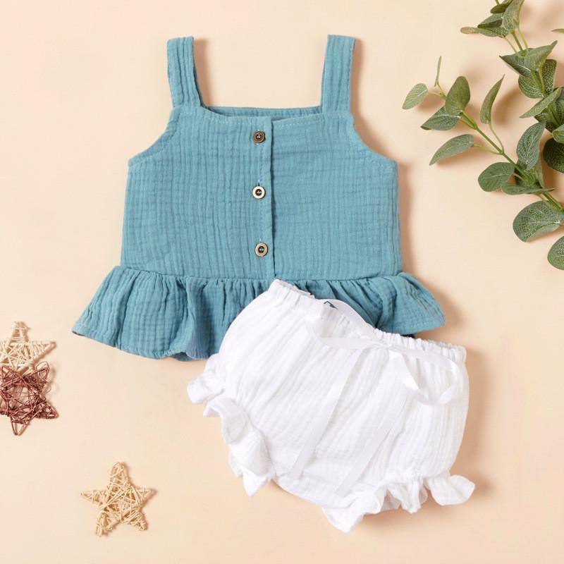 2-piece Solid Sling Tops & Shorts for Baby Girl