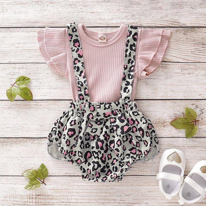 2-piece Solid Ruffle Tops & Leopard Overalls for Baby Girl