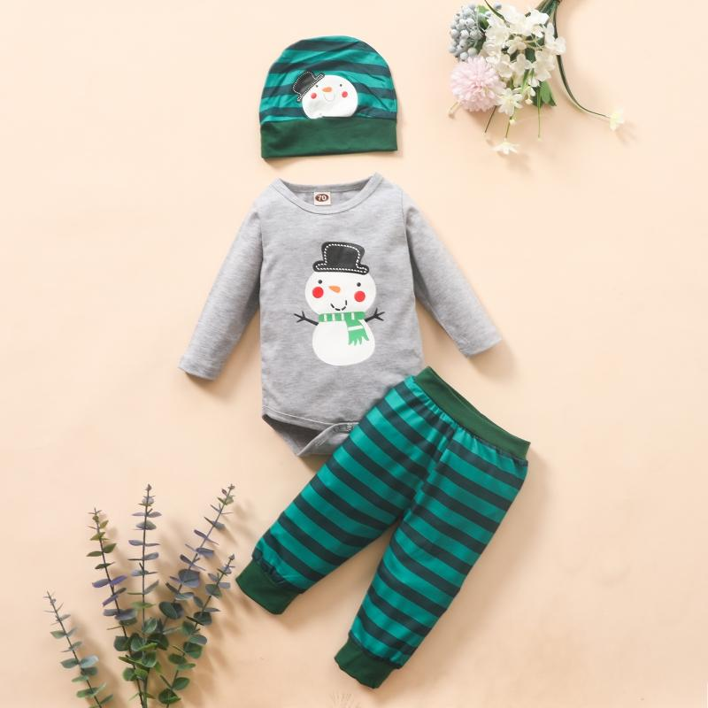 3-piece Snowman Pattern Romper & Pants & Hat for Baby Boy