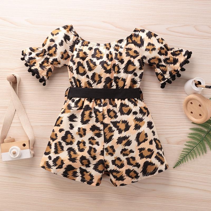 Leopard Print Bell Sleeve Overalls