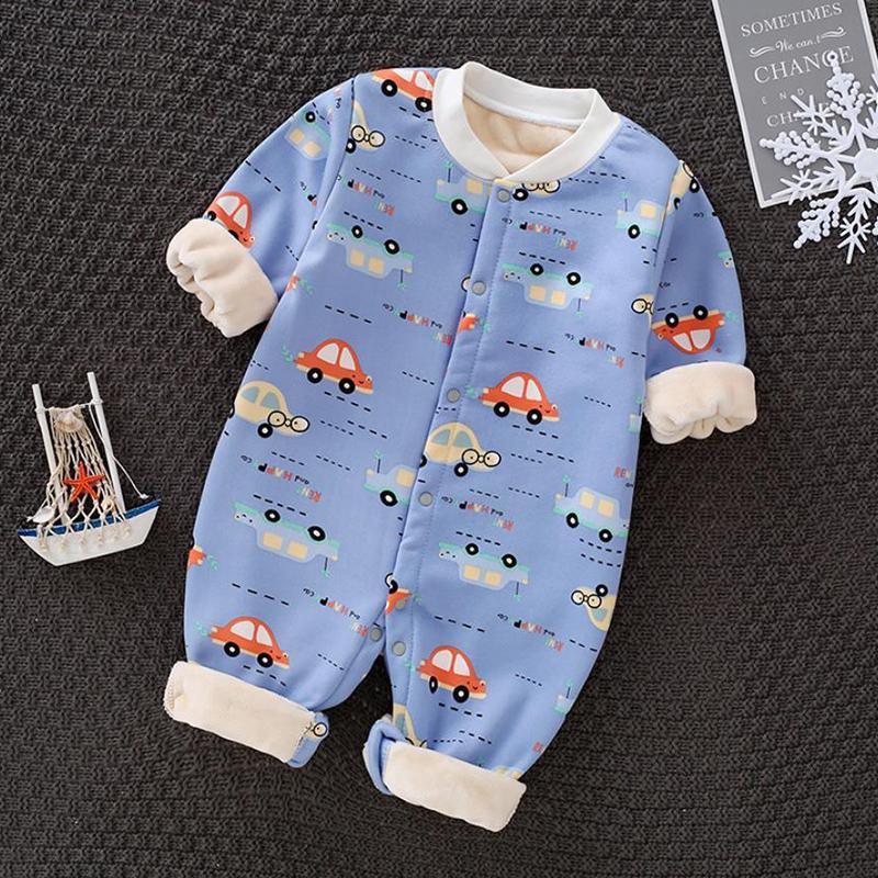 Fleece-lined Dinosaur Pattern Jumpsuit for Baby