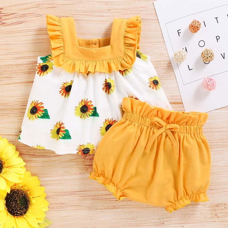 2-Pieces Sunflower Print suit For Girls