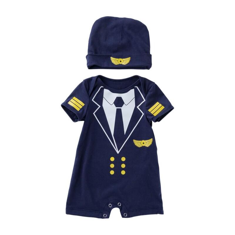 2-Piece Baby Boy Cotton Pilot Romper and Hat Set