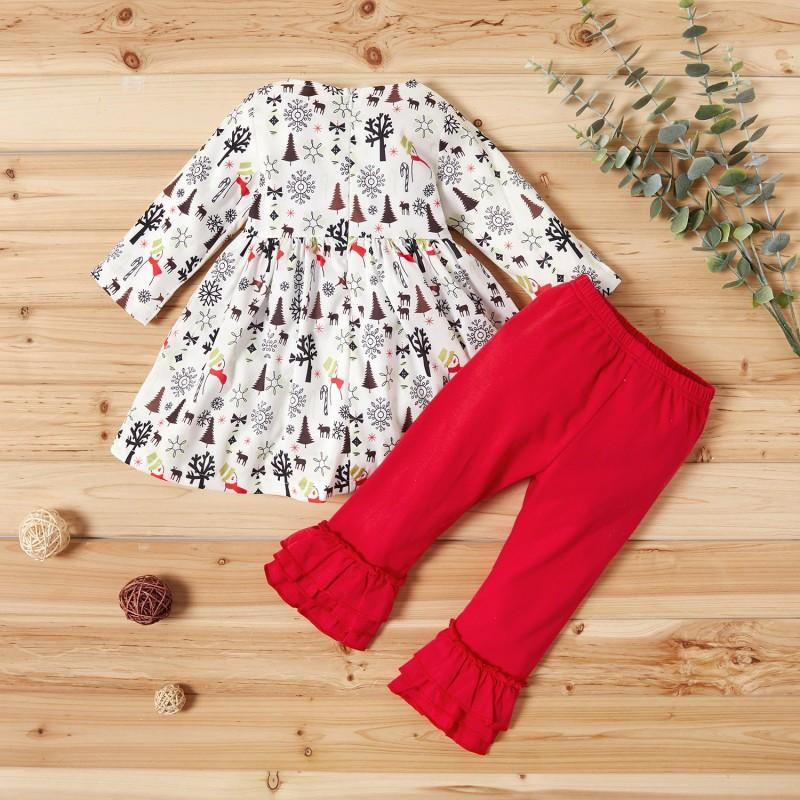 2-piece Allover Christmas Tree Long-sleeve Dress and Pants Set