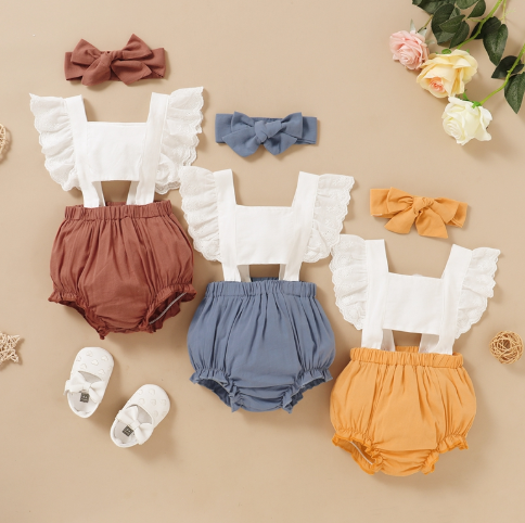 Color-block Ruffle Lace Bodysuit for Baby Girl