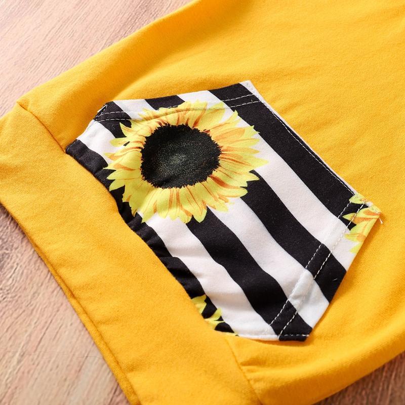 3-piece Sunflower Pattern Hoodie & Pants & Headband for Baby Girl