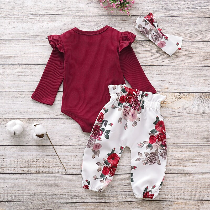 3-Piece Long-Sleeve Ruffled Bodysuit, Floral Pants and Headband Children's