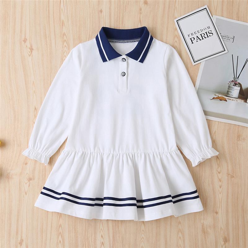 Lapel Collar Striped Dress for Toddler Girl
