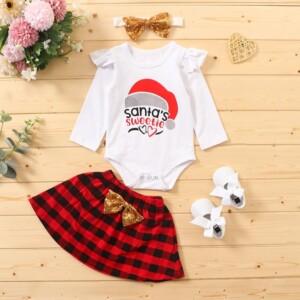 3-piece Letter Pattern Bodysuit & Skirt & Headband for Baby Girl