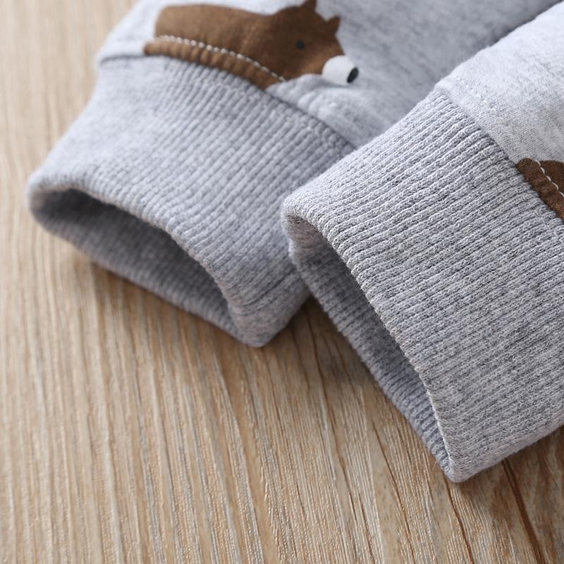 Cute 3-piece Hooded Bodysuit, Animal Sweatshirt and Pants Set
