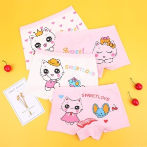 4-piece Cat Pattern Underwears for Toddler Girl