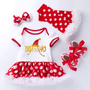 4-piece Romper-skirts and Shoes and Leggings and Headband Sets for Baby Girl