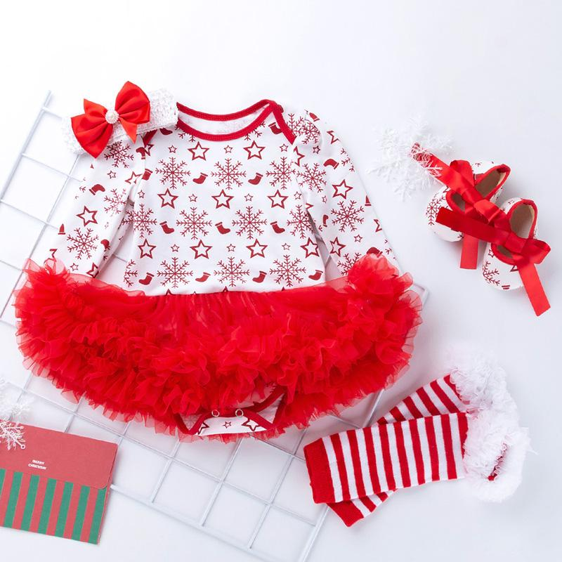 4-piece Cartoon Romper-skirt and Shoes and Bow and Leggings Sets for Baby Girl