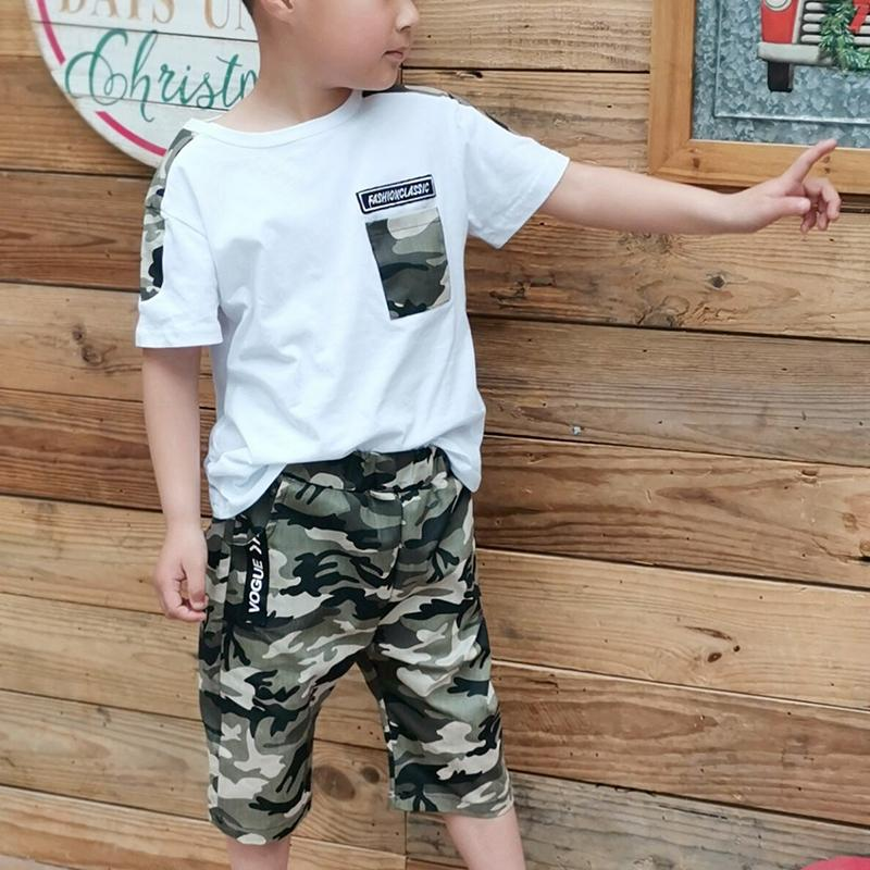 2-Piece Short-Sleeve Camouflage Tee and Shorts