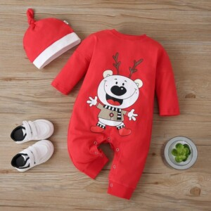 2-piece Hat & Cartoon Deer Pattern Jumpsuit for Baby