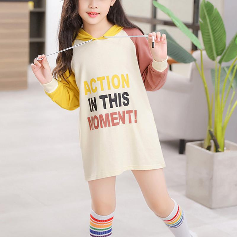 Color-block Letter Pattern Hoodie for Girl