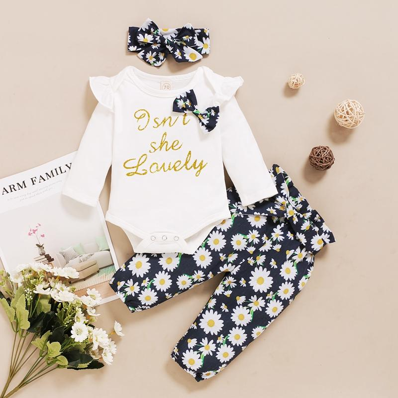 3-piece Bow Decor Bodysuit & Floral Printed Pants & Headband for Baby Girl