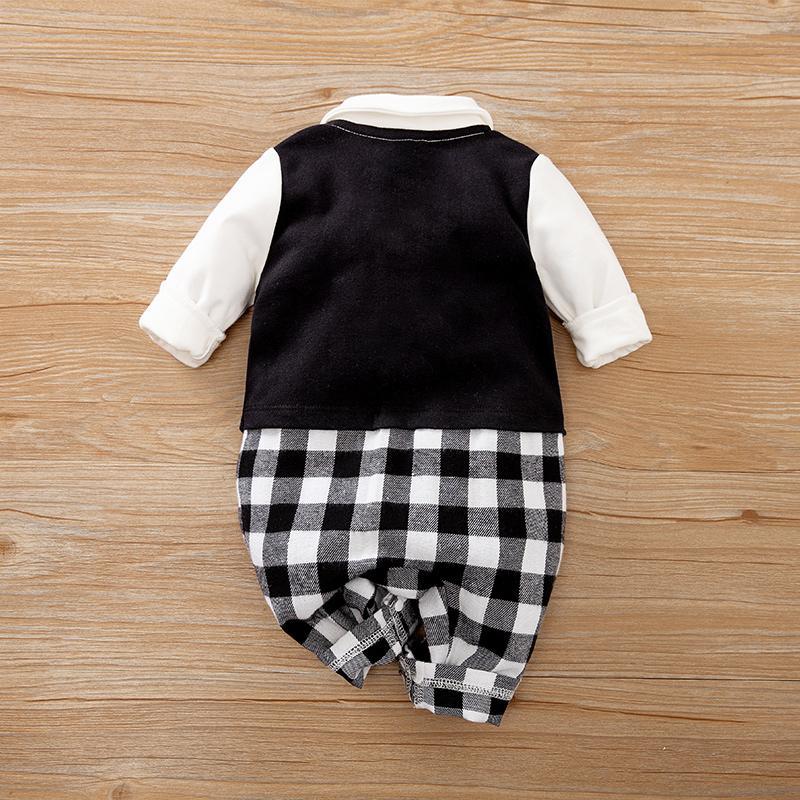 Bow Decor Plaid Jumpsuit for Baby Boy
