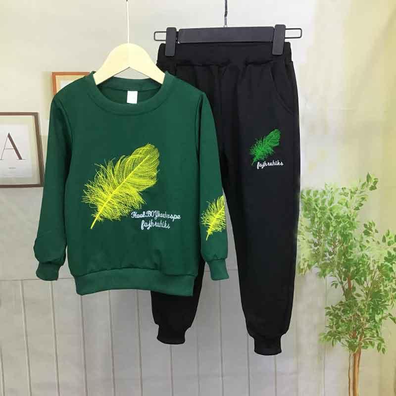 2-piece Feather Pattern Sweatshirt & Pants for Boy