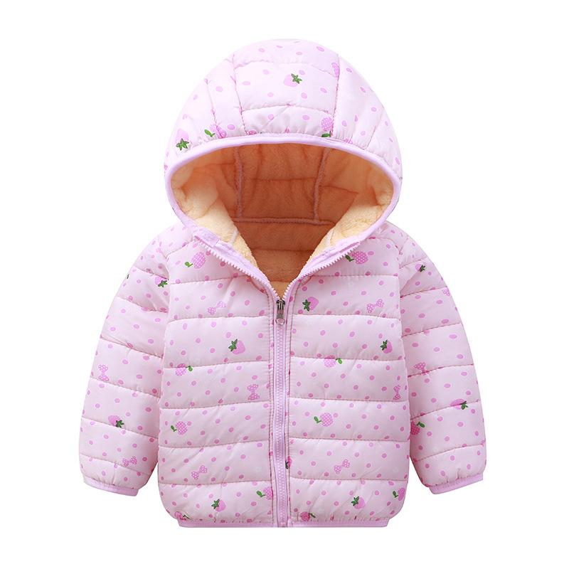 Strawberry Pattern Puffer Jacket for Toddler Girl