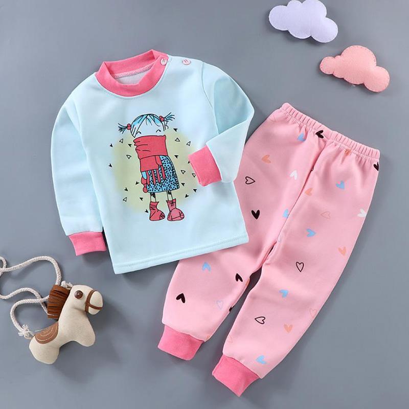 2-piece Cartoon Pattern Pajamas Sets for Toddler Girl