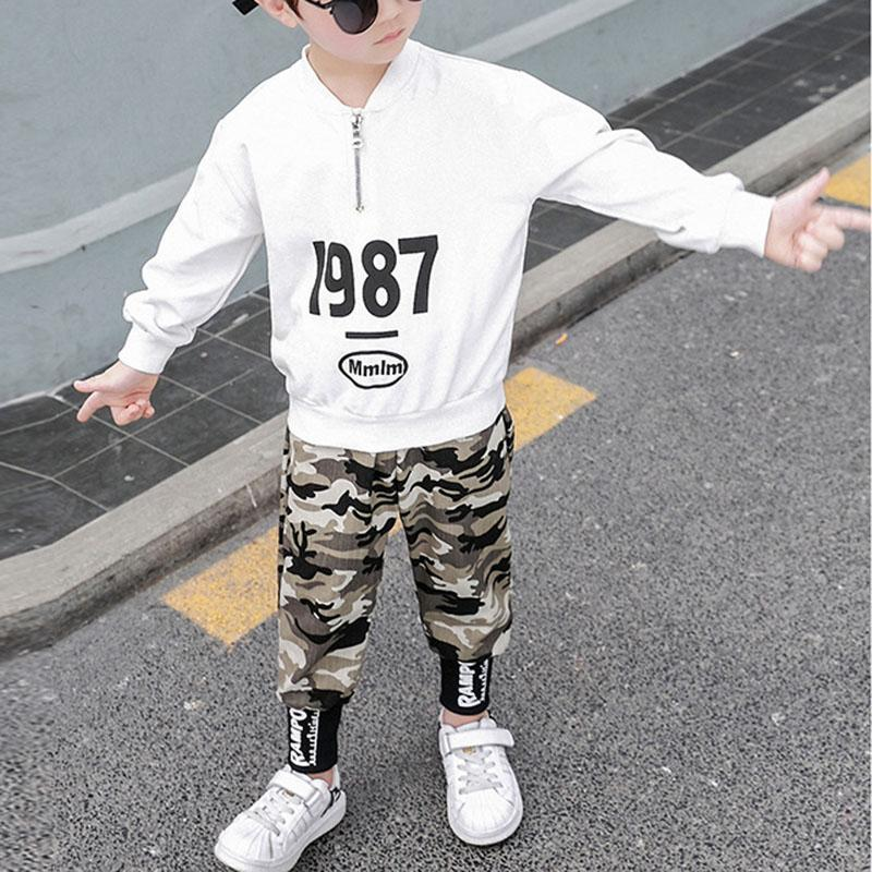 2-piece Letter Pattern Sweatshirts & Camouflage Pants for Boy